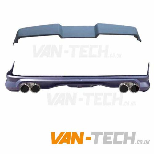 VW Transporter T6 Rear Tailgate Spoiler and Bumper Diffuser with Dummy Tailpipes