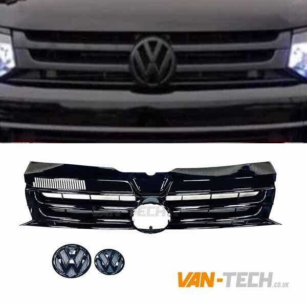 VW T5.1 Badged GP Grille Gloss Black Transporter with Badges