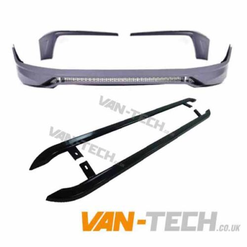 VW Transporter T6 Body Styling Kit Front Bumper Spoiler and Angular BLACK Side Bars