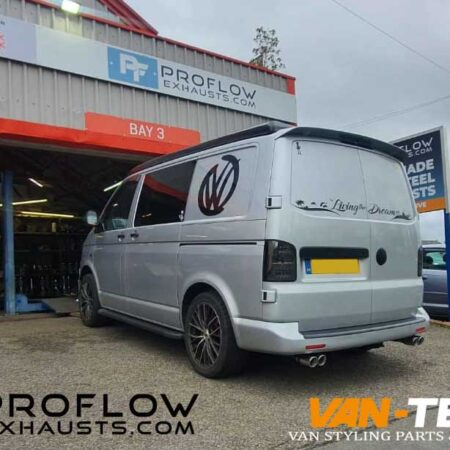 VW Transporter T5 Custom Exhaust with Dual Twin Tailpipes made from stainless steel