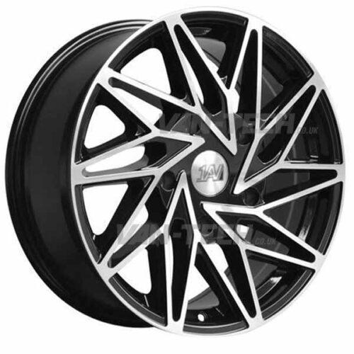 """1AV ZX10 Alloy Wheels Ford Transit 18"""" Black / Polished"""