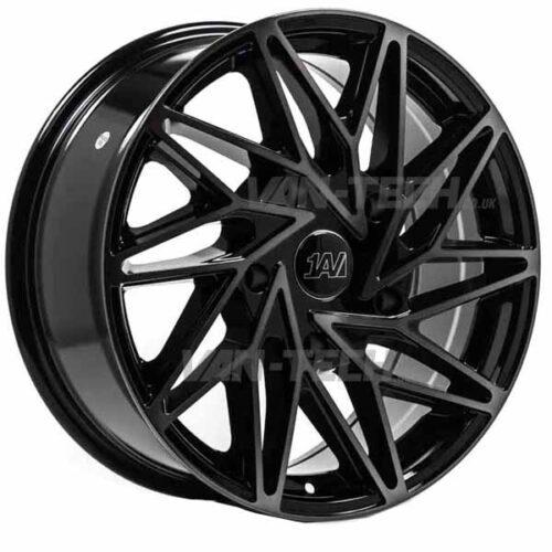 "1AV ZX10 Alloy Wheels Ford Transit 18"" Black / Tinted Polish"