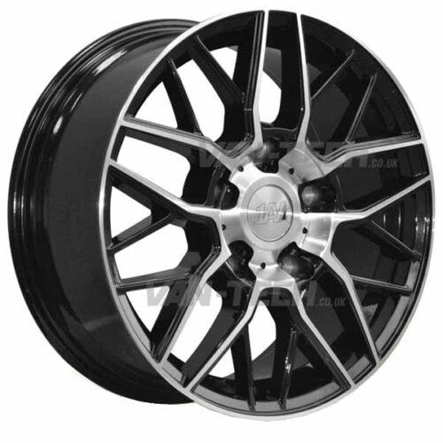 """1AV ZX11 Alloy Wheels Ford Transit 18"""" Black / Polished"""