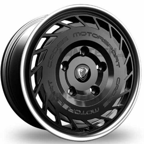 Cades Motorsport Ford Transit Alloy Wheels Matte Black with Polished Lip