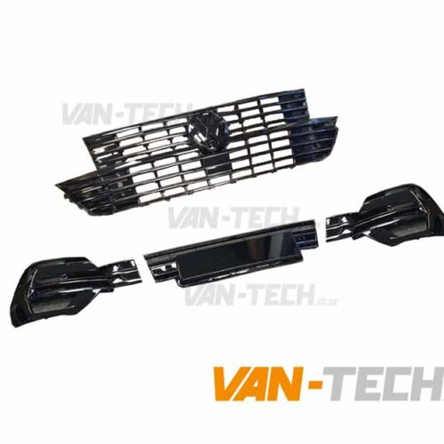 VW Transporter T6.1 Grille and Lower Bumper Grille Insert GLOSS BLACK