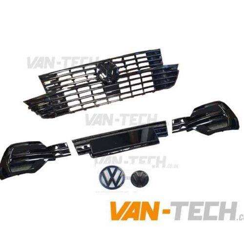 VW Transporter T6.1 Grille and Lower Bumper Grille Insert GLOSS BLACK with Front and Rear Badges