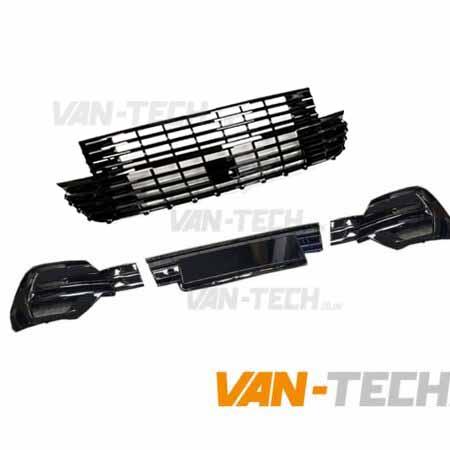 VW Transporter T6.1 Badgeless Grille and Lower Bumper Grille Insert GLOSS BLACK