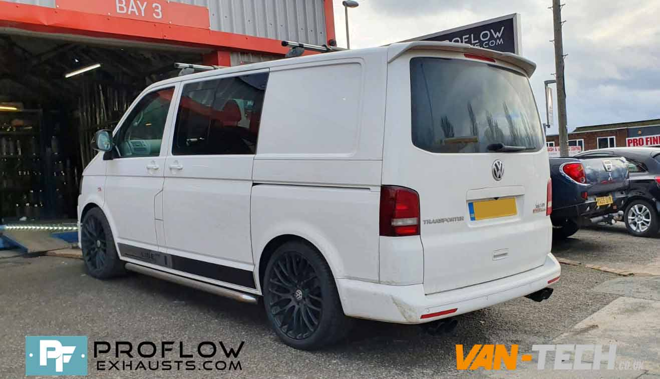 Custom Built Stainless Steel Proflow Exhaust for VW Transporter T5.1 Mid/ Rear with TX082B Dual Twin Tailpipes