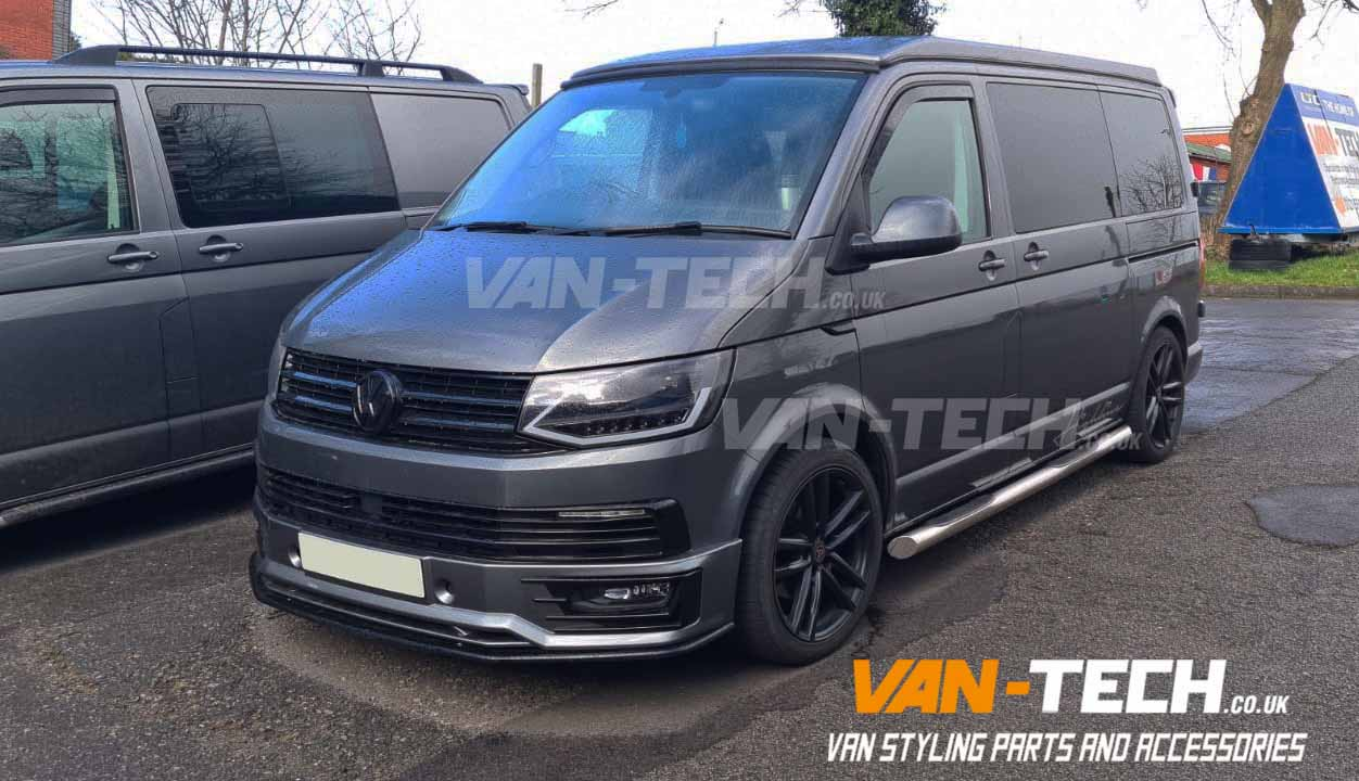 VW T6 Sportline Bumper, Lower Splitter, Daytime Running Lights, Headlights and Four Step Side Bars