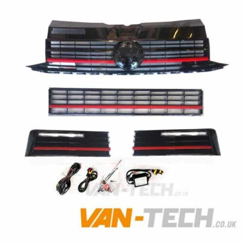 VW Transporter T6 Grille Middle Bumper Inserts Red Trim and Drl's