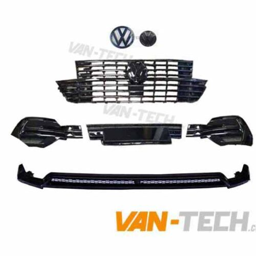 VW T6.1 Badged Grille, Badges, Lower Bumper Inserts and Front Splitter Gloss Black